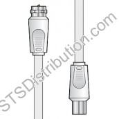 112.028UK AV:Link F-Type to Coax Lead, CCS, 2M, White
