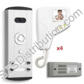 BLV4 Bell System - 4 Way Bellini Surface Colour Video Entry kit