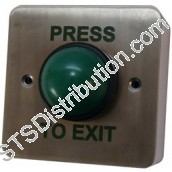 AN-EB001-PTE Press to Exit Green Dome Switch, Stainless Steel
