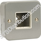 CL402 Metal Clad Surface Box, 1 Gang Metal Front Plate, Twin Aperture
