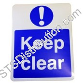 "DWS-KCSIGN ""KEEP CLEAR"" Sign, Self-Adhesive"