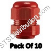 GLANDRED Dome Top Nylon Glands, 20mm, Red  c/w Lock Nuts (Pack of 10)