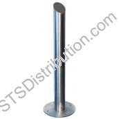 RPSS100D CDVI Stainless Post, Round, Angled Top, 100mm Ø x 1000mm