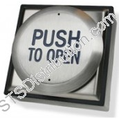 "RTEPTO-F CDVI All Active Exit Button, ""PUSH TO OPEN"", Stainless Steel, Flush"