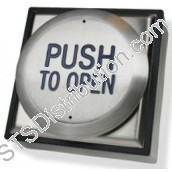 "RTEPTO CDVI All Active Exit Button, ""PUSH TO OPEN"", Stainless Steel, Surface"