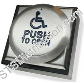 "RTEPTOD-F CDVI All Active Exit Button, ""PUSH TO OPEN"" & ""LOGO"", Stainless Steel, Flush"